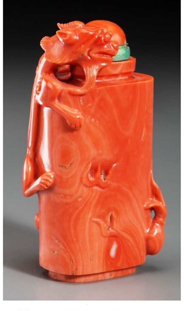 S026 Chinese red coral Chilong with Flaming Pearl snuff bottle,1